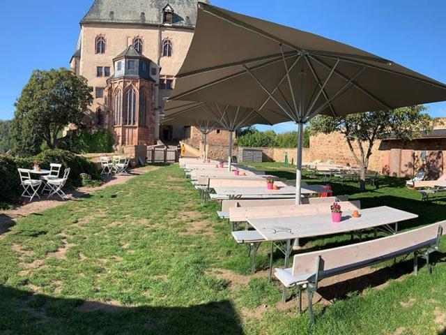 Blümchen Café Rochlitz Panorama Außenbereich mkit Blick auf Schloss Rochlitz und Sitzmöglichkeiten unter Sonnenschirmen